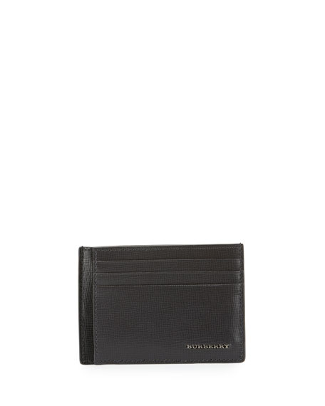 Burberry London Bicolor Leather Card Case, Charcoal/Black