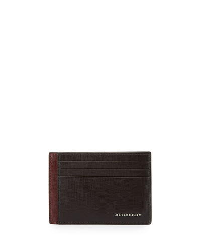 London Bicolor Leather Card Case, Burgundy/Brown