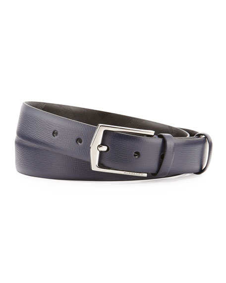 Burberry London Collection Leather Belt, Navy