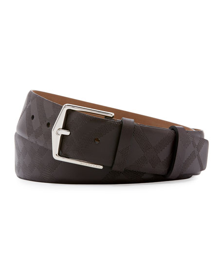 Embossed Check Leather Belt, Chocolate