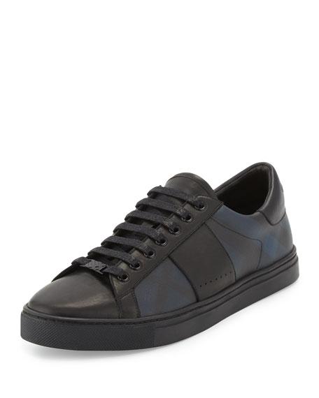 Ritson Men's PVC Check & Leather Low-Top Sneaker, Navy