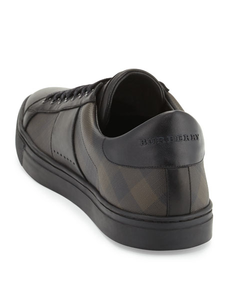 Ritson Men's PVC Check & Leather Low-Top Sneaker, Smoked Chocolate