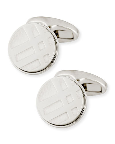 Check Engraved Round Cuff Links, Silver