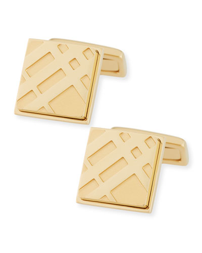 Check Engraved Square Cuff Links, Pale Gold