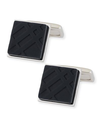 Enamel Check Square Cuff Links, Black