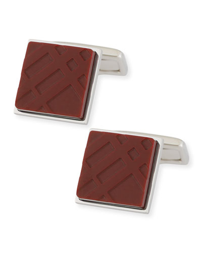 Enamel Check Square Cuff Links, Claret