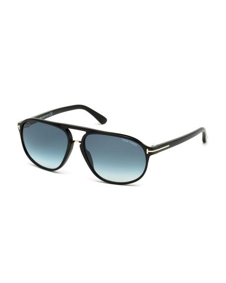 TOM FORD Jacob Shiny Aviator Sunglasses, Black/Turquoise