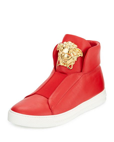 fc9d34f2 Palazzo Idol Leather High-Top Sneaker, Red