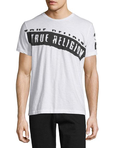 True Religion Logo-Stamped Short-Sleeve Jersey T-Shirt, White