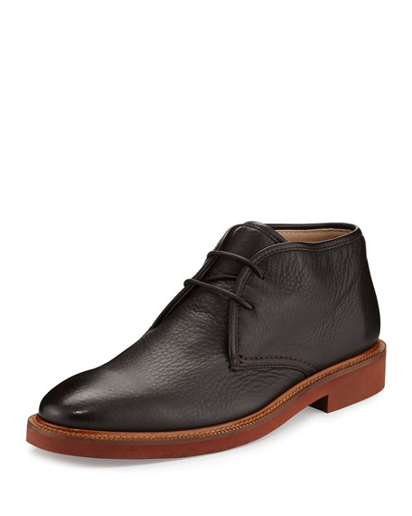 Ermenegildo Zegna Triverio Deerskin Leather Chukka Boot, Brown