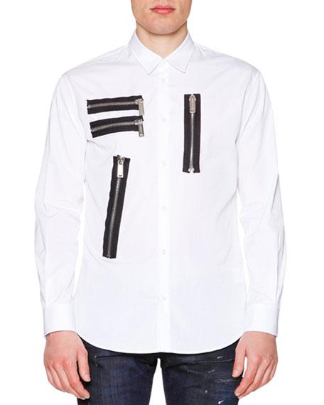 178191a25ff Dsquared2 Multi-Zipper Detail Long-Sleeve Shirt   Slim-Fit Distressed ...