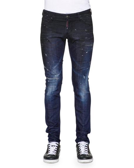 Dsquared2 Slim-Fit Distressed Denim Jeans, Blue