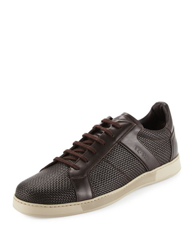 Woven Leather Sneaker, Brown