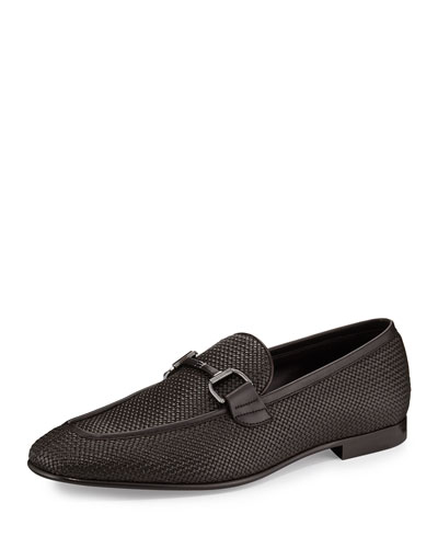 Woven Leather Bit-Strap Loafer, Dark Brown