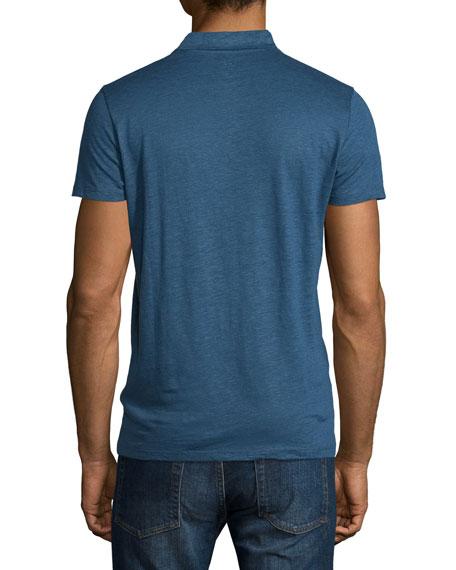 Linen-Blend Short-Sleeve Polo Shirt, Navy
