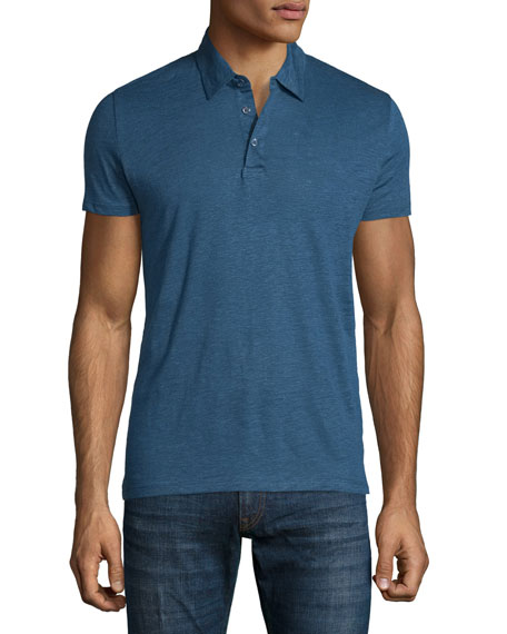 Majestic Paris for Neiman Marcus Linen-Blend Short-Sleeve Polo