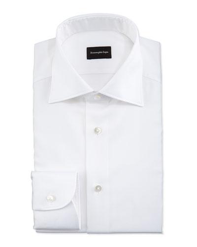White-On-White Textured Dress Shirt, White