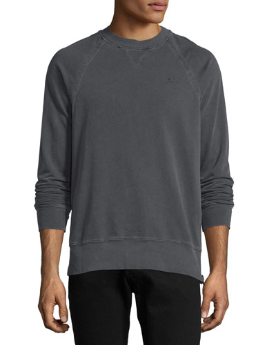 Russell Westbrook Collection Elongated Raglan-Sleeve Crewneck Sweatshirt, Used Black