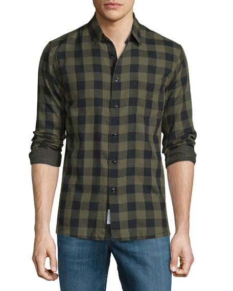 Rag & BoneBeach Check Long-Sleeve Sport Shirt, Olive