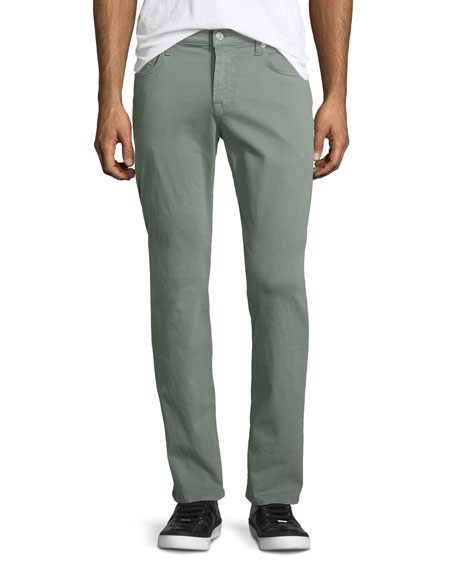 7 For All Mankind Straight-Leg Stretch Twill Jeans, Sage