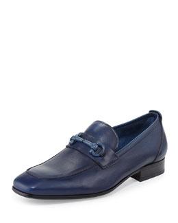 Livingstone Soft Calfskin Gancini Loafer, Blue