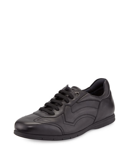 Leggero Leather Lace-Up Sneaker, Nero