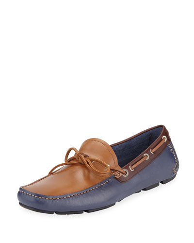 Losanna Tricolor Calfskin Boat Shoe Driver, Blue Marine/Tan/Brown