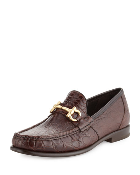 Salvatore Ferragamo Crocodile Gancini Loafer, Almond