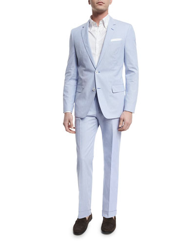 Hedson Gander Seersucker Two-Piece Suit, Blue