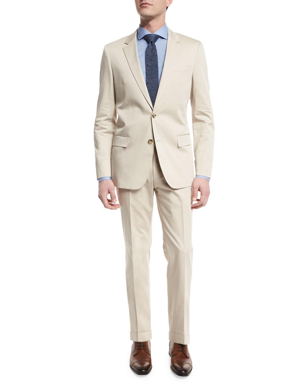 1a492247e BOSS Huge Genius Solid Slim-Fit Two-Piece Suit, Tan   Neiman Marcus