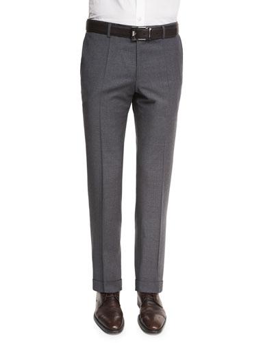 Genesis Slim-Fit Wool Trousers, Charcoal