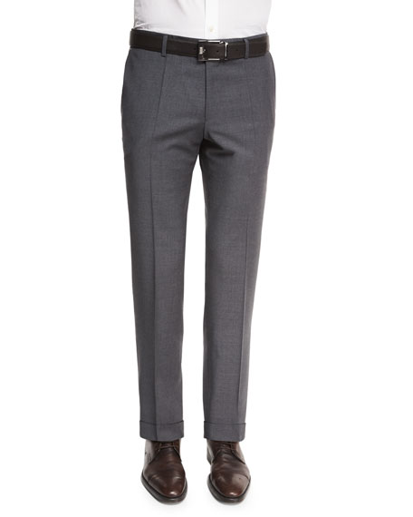 BOSS Genesis Slim-Fit Wool Trousers, Charcoal