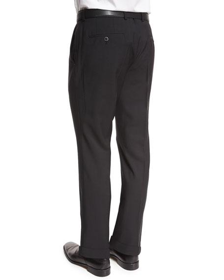 Genesis Slim-Fit Wool Trousers, Black