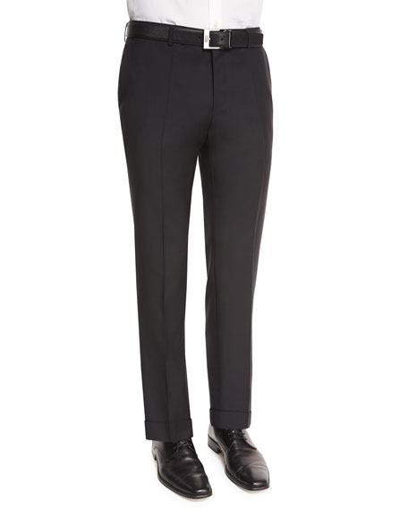 BOSS Genesis Slim-Fit Wool Trousers, Black