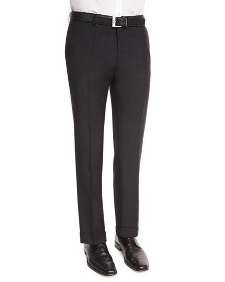 BOSS Genesis Slim-Fit Wool Trousers, Black