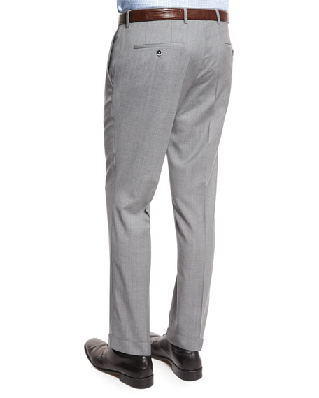 Genesis Slim-Fit Wool Trousers, Light Gray
