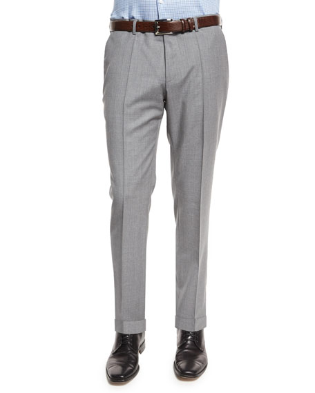 BOSS Genesis Slim-Fit Wool Trousers, Light Gray