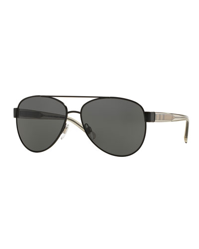 Men's Check-Temple Metal Aviator Sunglasses, Matte Black