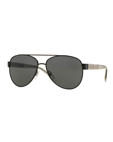Men's Check-Temple Metal Aviator Sunglasses, Matte Black
