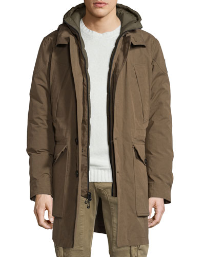 Oldham Hooded Parka Jacket, Russet Brown