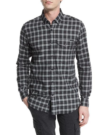 Belstaff Samuel Check Flannel Long-Sleeve Shirt, Black/Gray