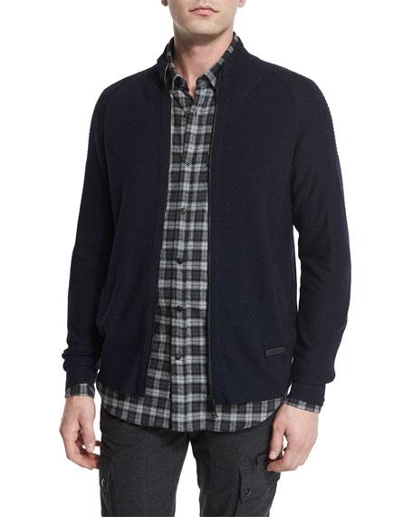 BelstaffLatham Merino Wool Zip-Up Sweater, Navy Melange