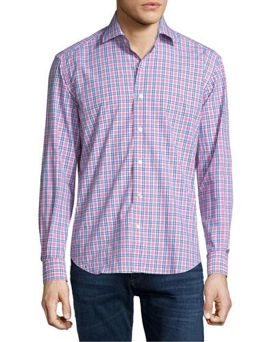 Plaid Long-Sleeve Sport Shirt, Pink