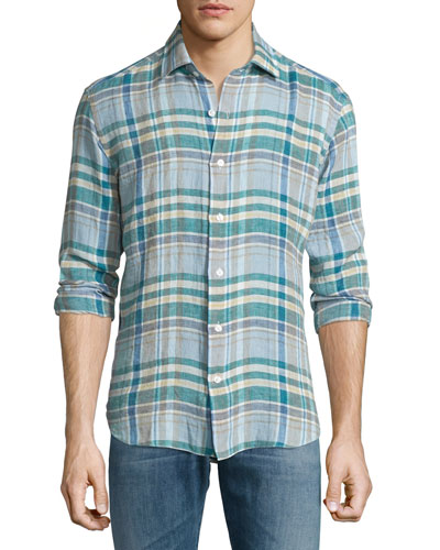 Plaid Long-Sleeve Linen Sport Shirt, Multi