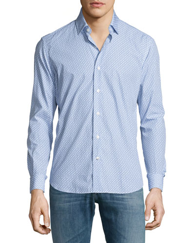 Ring-Print Long-Sleeve Woven Sport Shirt, Blue/White