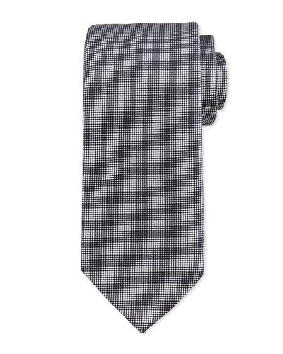 Micro Printed Silk Tie, Silver