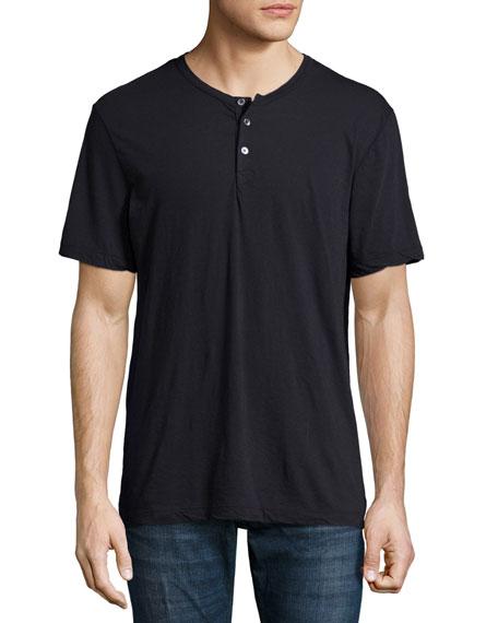 James Perse Short Sleeve Knit Henley Shirt Navy