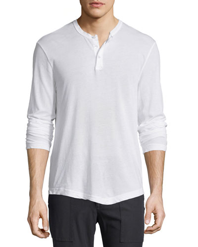 Long-Sleeve Knit Henley Shirt, White