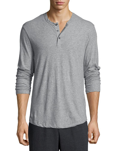 Long-Sleeve Knit Henley Shirt, Gray