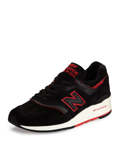 997 Explore By Air Suede Sneaker, Black/Red